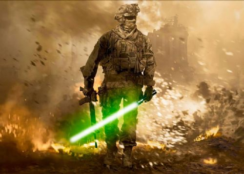 GAMES - CALL OF DUTY - LIGHTSABER canvas print - self adhesive poster - photo print